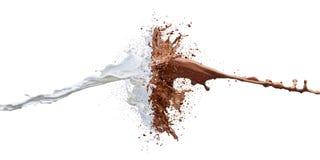 Färgstänk av choklad mjölkar, och vit mjölkar banan Arkivfoton