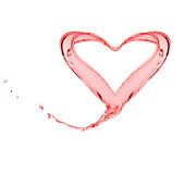 Färgstänk av form för rött vatten som en hjärta Arkivbild