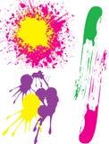 Färgstänk av kulöra målarfärger arkivfoto