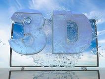 Färgstänk av vatten från TVskärmen på en bakgrund av ett solnedgånglandskap, med symboler 3D och 4K, 3d framför Royaltyfri Foto