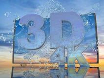 Färgstänk av vatten från TVskärmen på en bakgrund av ett solnedgånglandskap, med symboler 3D och 4K, 3d framför Arkivfoto
