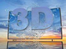 Färgstänk av vatten från TVskärmen på en bakgrund av ett solnedgånglandskap, med symboler 3D och 4K, 3d framför Arkivbilder