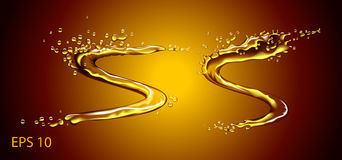 Färgstänk för guld- olja eller schampo- eller öl vektor illustrationer