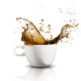 färgstänk för kaffekopp Fotografering för Bildbyråer