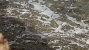 Färgstänk för kustlinjehavvåg i den steniga ön, slut upp arkivfilmer