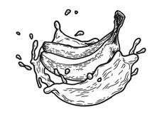 Färgstänk mjölkar bananen stock illustrationer