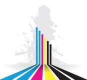 Färgstänkcmyklinje pilbakgrund Royaltyfri Bild