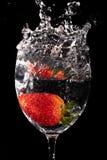 färgstänkjordgubbe Arkivbilder