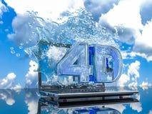 Färgstänkvatten från bärbar datorskärmen med symboler 4d, 3d framför Arkivbilder