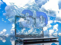 Färgstänkvatten från bärbar datorskärmen med symboler 3d, 3d framför Fotografering för Bildbyråer