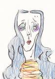 Färgstående av en flicka med blått hår Illustration för design av att förpacka, reklambladet, vykortet, affischen eller trycket f vektor illustrationer