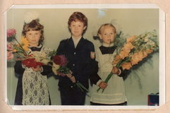 Färgståendefotografi av skolbarn Royaltyfri Bild