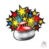 Färgstjärnor flyger ut från att krulla den röda stenen all stjärnageme på vit Sportlogo för någon lag eller mästerskap royaltyfri illustrationer