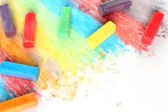 Färgstycken av krita Arkivbilder