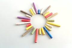 Färgstycken av krita Arkivbild
