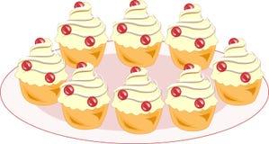 Färgsymbol med en platta av smakliga muffin En kaka med en kräm- fyllning ska dekorera någon festlig tabell En kaka för te och so vektor illustrationer