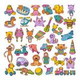 Färgsymboler av barnleksaker Hand drog vektorillustrationer abstrakt klotter tecknade blom- inställda handillustrationer royaltyfri illustrationer