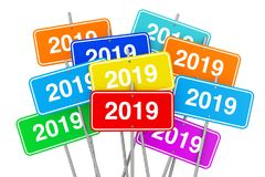 2019 färgtecken för nytt år framförande 3d Royaltyfria Bilder