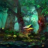 Färgteckning av ett tecknad filmhus i skogen nära sjön vektor illustrationer