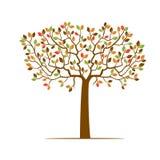 Färgträd med blad stock illustrationer