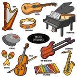 Färguppsättning med musikinstrument, vektortecknad filmklistermärkear Royaltyfri Bild