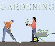 Färgvektorbild av att arbeta i trädgården par royaltyfri illustrationer