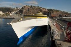 Färja i hamnen av San Sebastian Fotografering för Bildbyråer