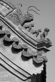 Fäskulptur i eavesna i ett tempel, Kina Royaltyfria Foton