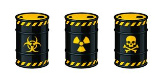 Fässer der überschüssigen Vektorillustration Biohazardabfall, radioaktiver Abfall, Giftmüll stock abbildung