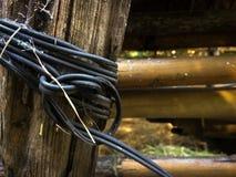 Fäst svart tråd och staketet royaltyfri fotografi