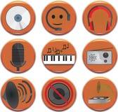 fästande ihop den digitala bland annat musikbanor för symboler illustrationen skrapar Arkivfoton