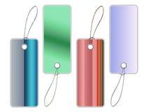 fästande ihop färgrika banaförsäljningsetiketter Royaltyfri Bild