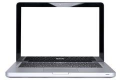 fästande ihop isolerad pro macbookbana arkivfoto