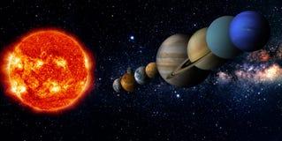 fästande ihop jord fokuserar venusen för systemet för kvicksilverbanan den sol- vektor illustrationer