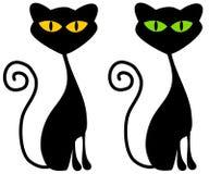 fäster ihop svarta katter för konst isolerat Royaltyfria Bilder