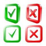 Fästing- och korstecken reko grön checkmark och röda x-symboler som isoleras på vit bakgrund också vektor för coreldrawillustrati Stock Illustrationer