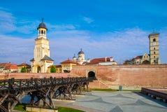 Fästning av Alba Iulia, Transylvania, Rumänien Arkivbilder