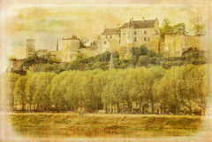 fästning Chinon france royaltyfria foton