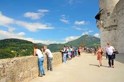 Fästning Hohensalzburg i Salzburg, Österrike. Arkivbild