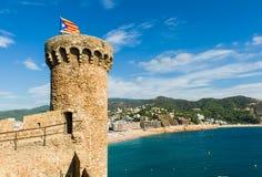 Fästning i Tossa de Mar royaltyfri bild