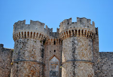 fästning medeltida rhodes Arkivbild