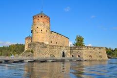Fästning Olavinlinna finland Arkivbild