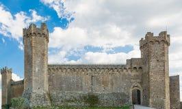 Fästningen av Montalcino 1381, Siena, Tuscany Arkivfoto