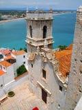 Fästningen av Peniscola, Spanien Costa del Azahar, Aragonese kungarike, beställningen av Templarsen royaltyfria bilder