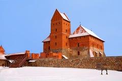 fästninglithuania trakai royaltyfria bilder