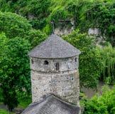 Fästningtorn i träna arkivbilder