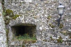 Fästningvägg med blommor och lampan Arkivbilder