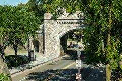 Fästningvägg runt om gamla Quebec Royaltyfri Fotografi