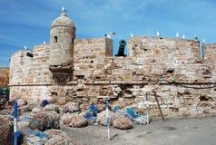 Essaouira Marocko, fästningwalss med fisknät, seagulls och kanonen Arkivfoton