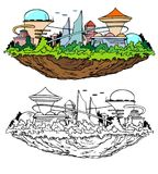 Få att sväva den framtida staden Arkivbilder